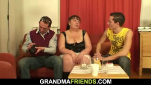 Two two really big tits granny moms having a wicked after cock time