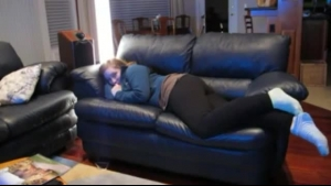 Rich blonde is about to get nude on the sofa during a nice casual threesome with dicks