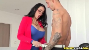 Red haired woman, Amy Anderssen is getting banged while squeezing her big tits, at the same time
