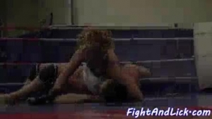 Two babes and their good friend are in front of a wrestling ring and getting ready to party