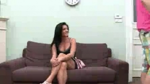 Spectacular brunette teen Adriana is excited from making love and likes it on the red sofa